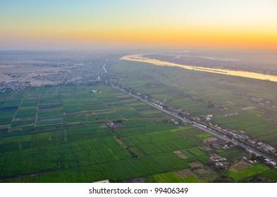 Sun rising above Nile, Egypt
