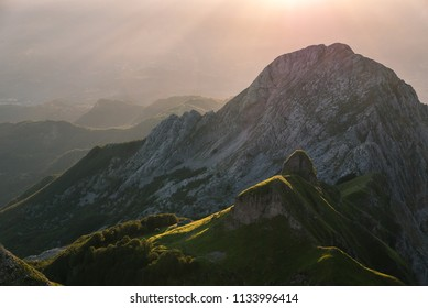 Sun rising on the crest, Apuan Alps, Lucca province, Tuscany, Italy, Europe