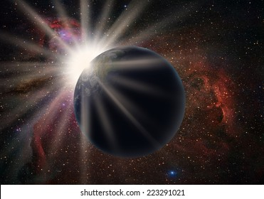 """Sun rising over planet """"Element s of this image furnished by NASA"""