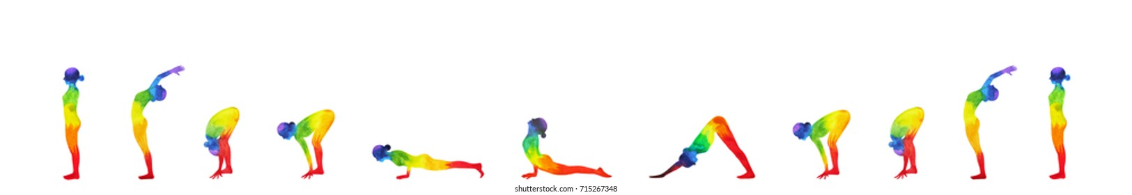 sun salutation A, surya namaskar A sequence, watercolor painting hand drawn design illustration
