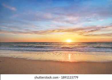 Sun and sea sunset background. Nature composition.