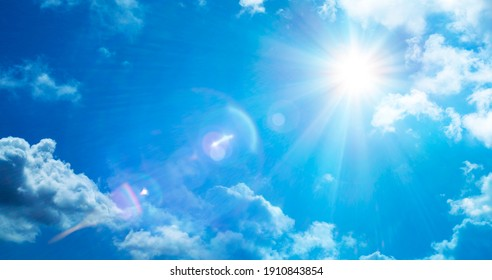 Sun In Serene Sky With Flare Effect - Abstract Weather Concept
