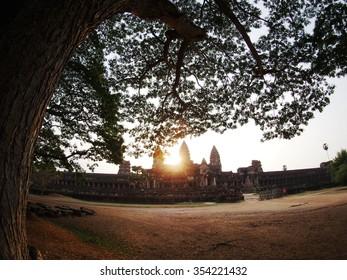 Sun set at Angkor Wat,  Siem Ream, Combodia.