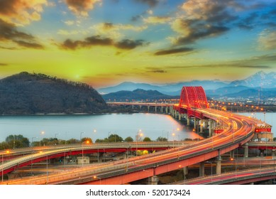The sun set of Banghwa bridge at seoul,Korea
