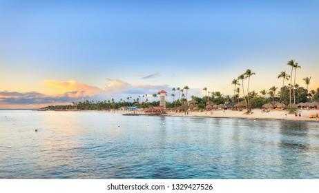 Sun set at Bayahibe beach, La Romana, Dominican republic