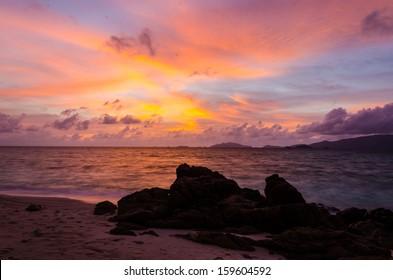 Sun set and beach at li-pe island thailand