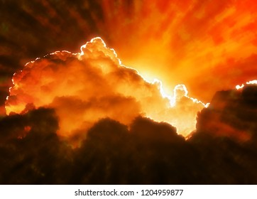 sun set behind hot and burning cloud