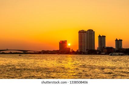 Sun set at The Chao Phraya River of Thailand.