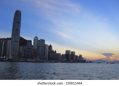 sun set dawn of victoria harbour in the hong kong city