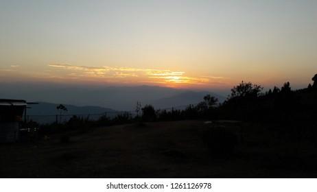 Sun set at Dello Hills Kalimpong