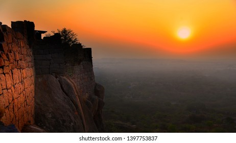 Sun set from Golconda fort in Hyderabad,India