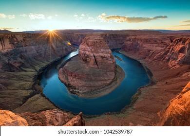 sun set of horseshoe bend