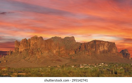 Sun set over mountain in the desert Phoenix, Arizona, USA