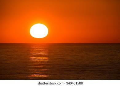 sun set over the Sea of Okhotsk