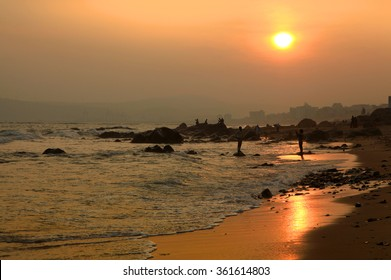 Sun set over Visakhapatnam beach in Andhra Pradesh, India