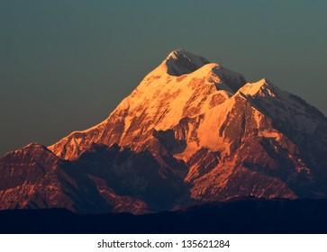 """sun set scene over Mountain """" Trishul"""" In Indian Himalaya"""
