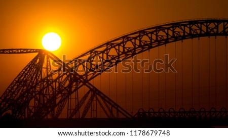 Sun Set Sukkur Bridge Pakistan Stock Photo (Edit Now) 1178679748