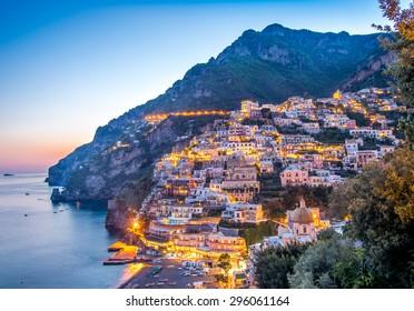 Sun set view of Positano village at Amalfi Coast, Italy.