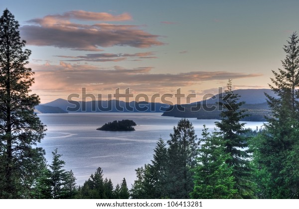 The sun sets on Lake Pend Oreille, Idaho.
