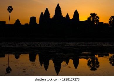The sun sets over the Angkor Wat temple in Siem Reap province Cambodia on  12-01-2018