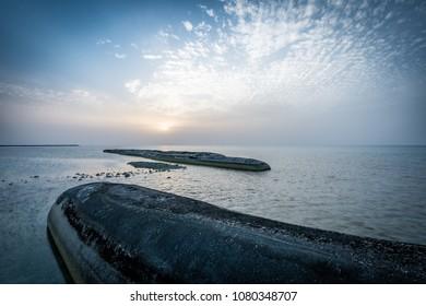 Sun sets over the coast of Sir Bani Yas Island