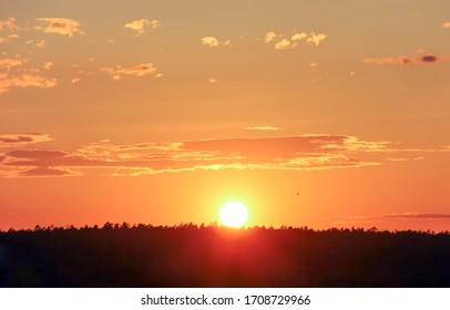 The sun sets over the forest over the horizon against the backdrop of the summer evening sky. Concept for desktop background, natural texture, nature. Kyiv (Kiev), Ukraine, Europe.