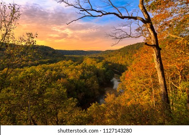 The sun sets over the Green River at Mammoth Cave National Park, Kentucky