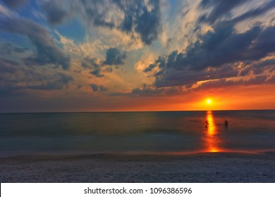 The Sun sets over the Gulf of Mexico, as seen from Marco Island, Florida beach.