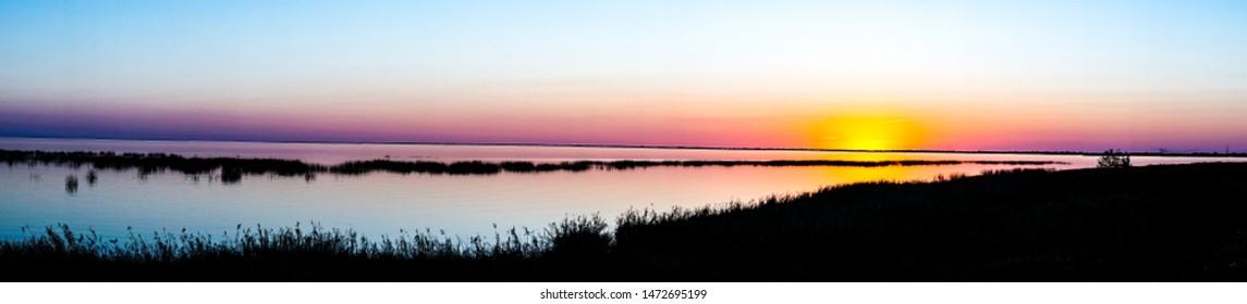 The sun sets over lake Okeechobee.