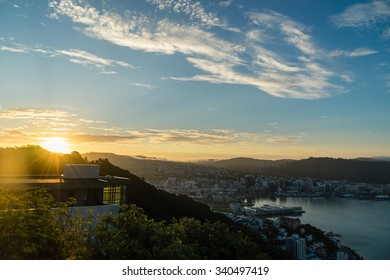 The sun sets over a new home atop Mount Victoria in Wellington, New Zealand.