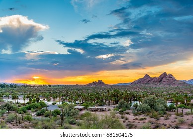 The sun sets over Papago Park in Phoenix, Arizona.
