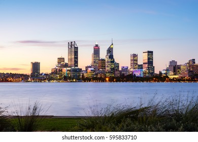 The sun sets over Perth City, the capital of Western Australia, Australia. March 7th, 2017.