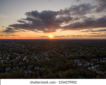 The sun sets over Rockville, Montgomery County, Maryland.