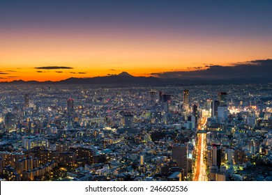 The sun sets over the sprawling cityscape of Tokyo, with Mount Fuji in the far distance.