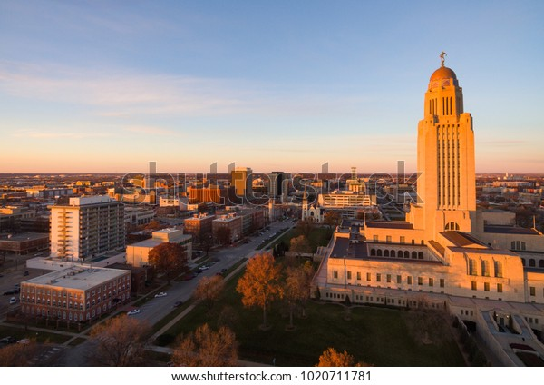 The sun sets over the State Capital Building in Lincoln Nebraska