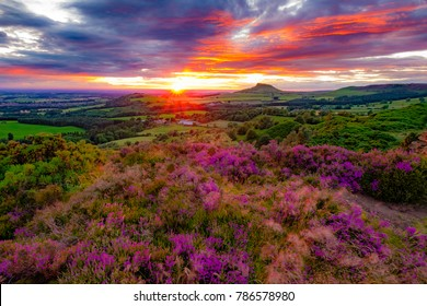 The sun sets at Roseberry Topping