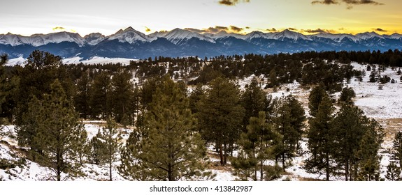 Sun setting behind the Sangre de Cristo Mountain range, Westcliffe, Colorado