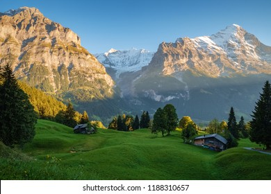 Sun is setting during the famous hiking trail from First to Grindelwald (Bernese Alps, Switzerland). You can have great views on Eiger, Monch and Jungfrau and the Bachalpsee along the way.