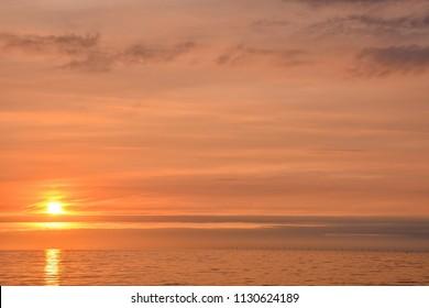 Sun Setting on the Atlantic Ocean in North Europe Holland