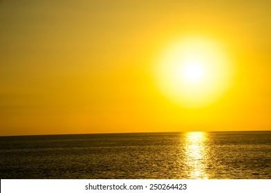 Sun Setting on the Atlantic Ocean in Tenerife Canary Island Spain