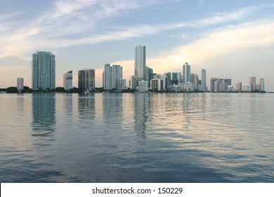 Sun Setting on Miami Skyline