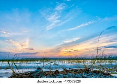 Sun setting over the the beautiful Hawassa Lake
