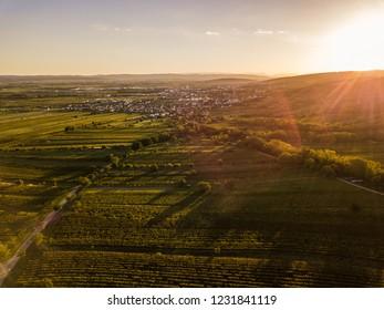 The sun is setting over Eisenstadt in Burgenland Österreich
