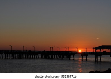 Sun Setting Over the Pier on St. Simon's Island, Georgia - Summer Landscape