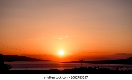 sun setting over the river, Elazig TURKEY