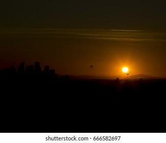 sun setting over Sydney Australia