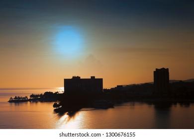 Sun setting over the tropical island of Ocho Rios, Jamaica