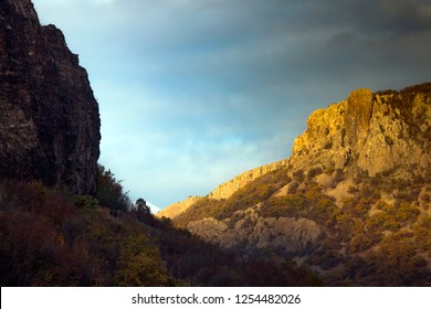 Sun and shade - a canyon from the Rhodope Mountain over the Studen Kladenets Dam, Bulgaria.