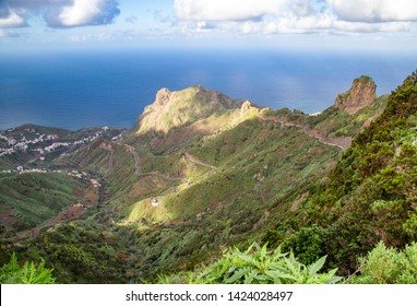 Sun and shadows plays in Anaga Mountains, Tenerife, Canary Islands,