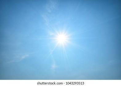 Sun shines in blue sky amid beautiful cloud. Concept is sun still shining. Life is always hopeful.